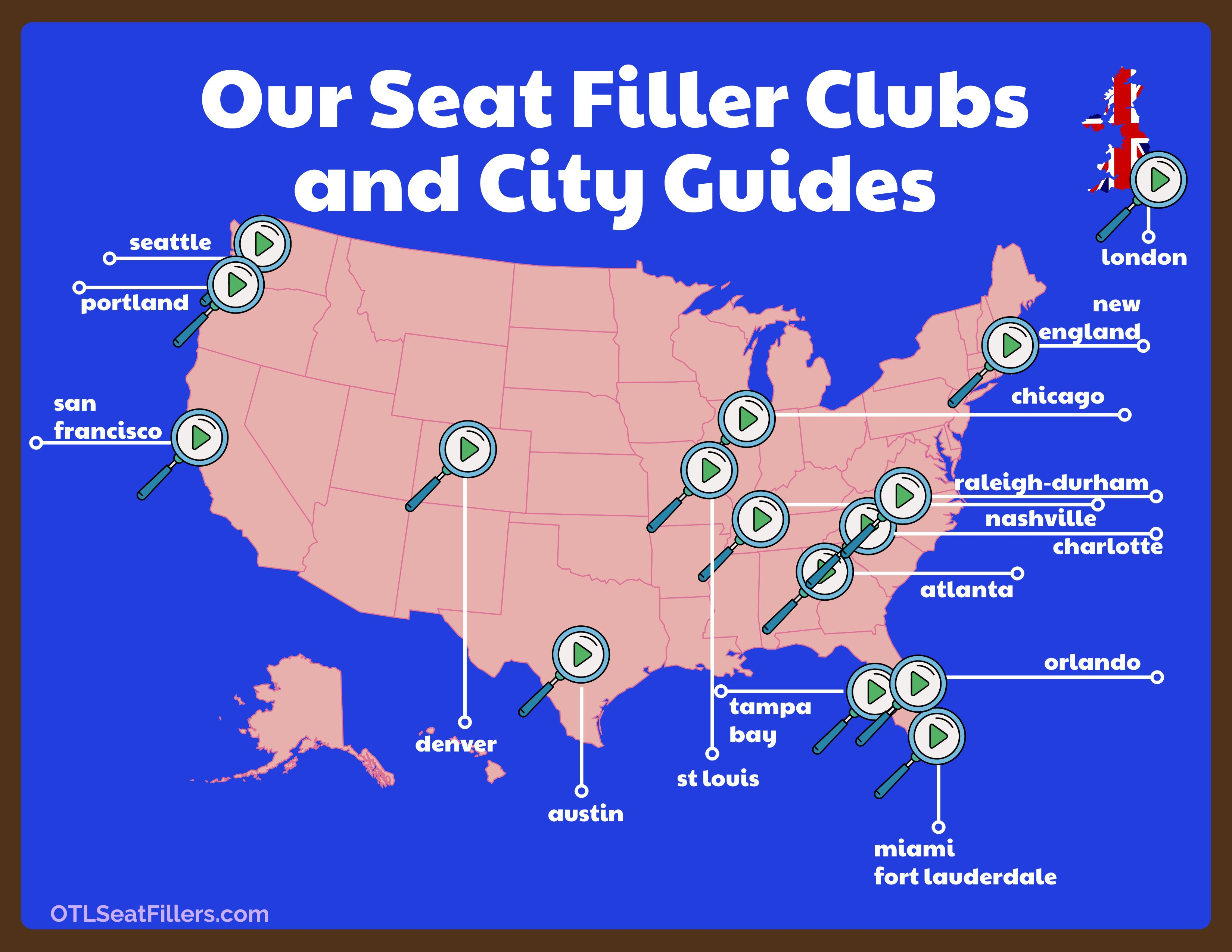 OTL Seat Filler Clubs provide city guides with entertainment information as well as restaurants, sports, discounts and more