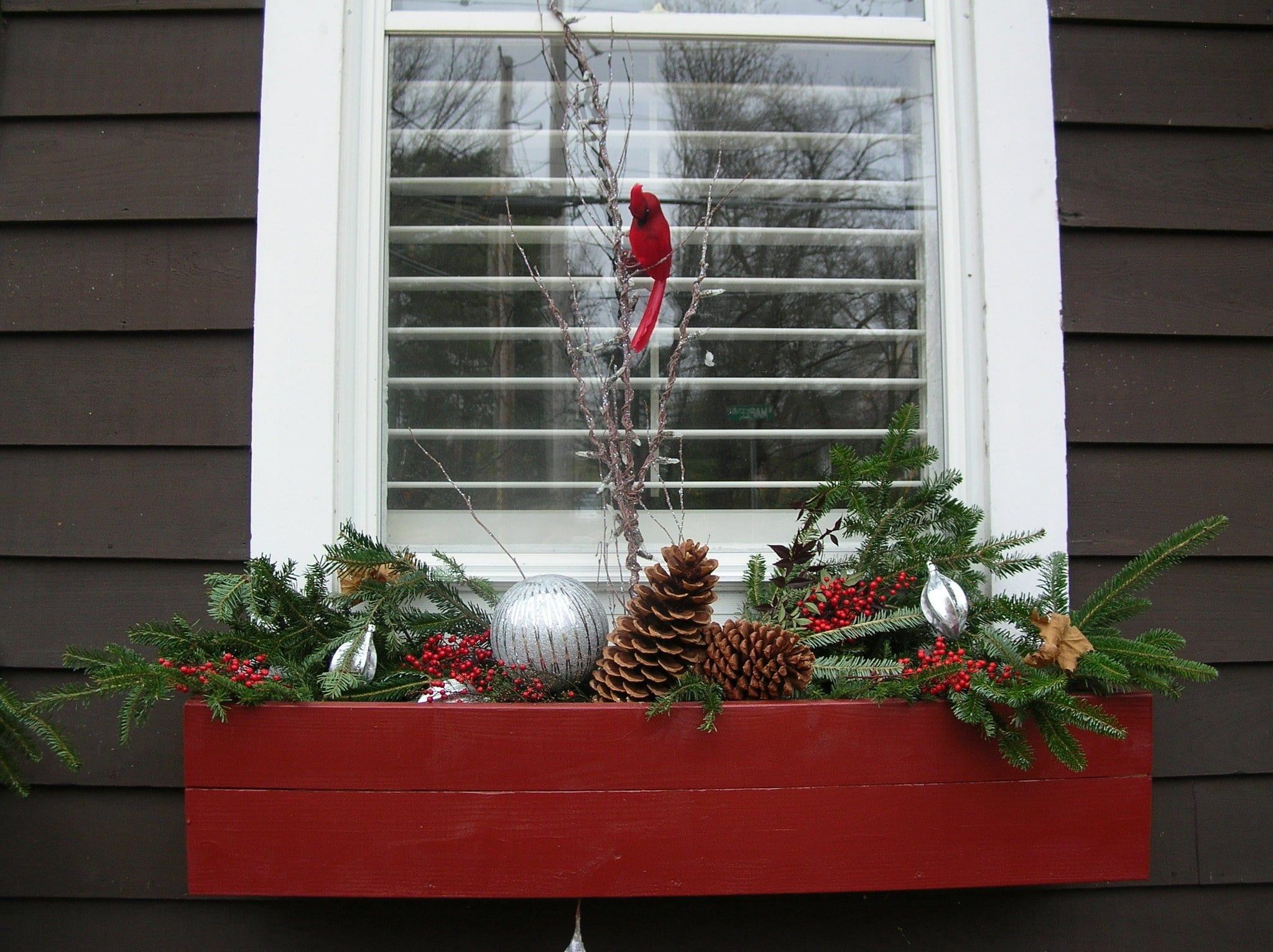 Holiday decor, window box decorations, holiday window boxes